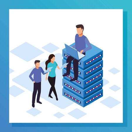 avatar man sitting on data center and people standing over white background, colorful design, vector illustration