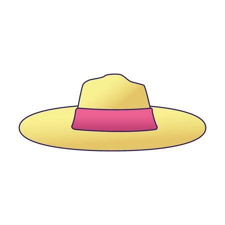 women beach hat icon over white background, vector illustration
