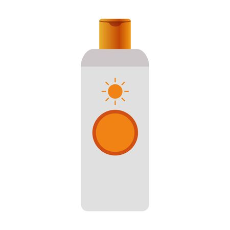 sunscreen bottle icon over white background, colorful design, vector illustration