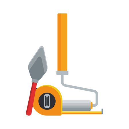 paint roller with hand meter and spatula tool over white background, vector illustration Stock Illustratie