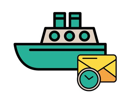 envelope mail with ship boat vector illustration design