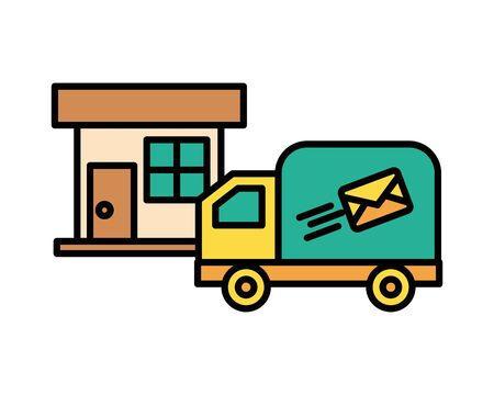 truck cart with envelope mail postal service vector illustration design