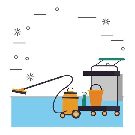 housekepping cart with bucket and vacuum cleaner vector illustration design