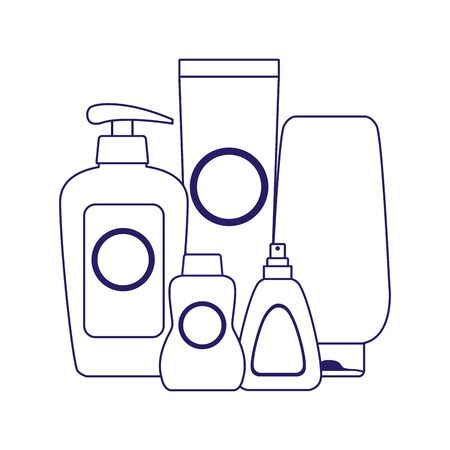sunscreen and bronzers bottles over white background, flat design, vector illustration