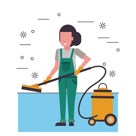 housekepping woman worker with vacuum cleaner vector illustration design