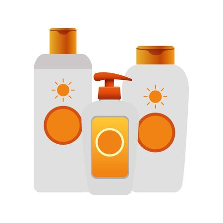sunscreens bottles icon over white background, colorful design, vector illustration 矢量图像