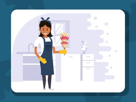 woman worker housekepping with duster vector illustration design Vettoriali