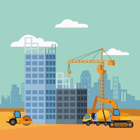 in aanbouw landschap met bouw vrachtwagens, kleurrijk ontwerp, vectorillustratie