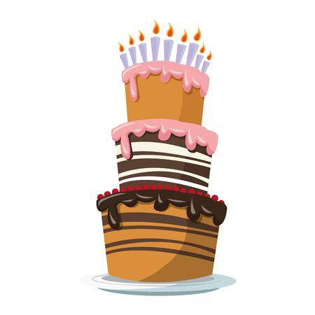 groot verjaardagstaartpictogram op witte achtergrond, kleurrijk ontwerp, vectorillustratie