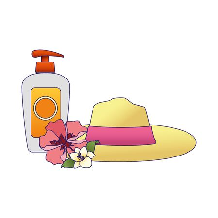 women beach hat with sun bronzer bottle icon over white background, vector illustration Illustration