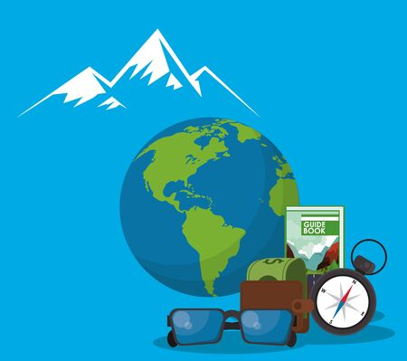 world travel scene with earth planet vector illustration design