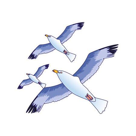 icona di gabbiani in volo su sfondo bianco, illustrazione vettoriale Vettoriali