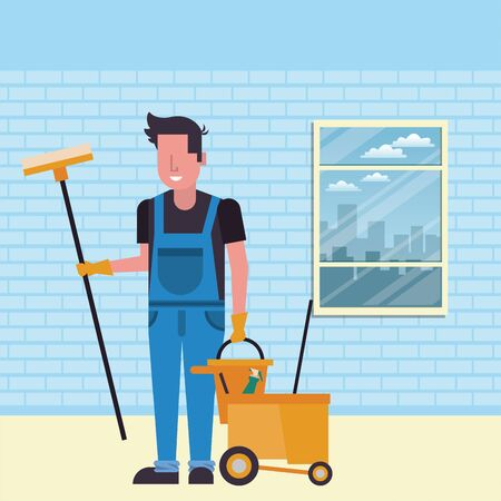 housekepping male worker with brush broom character vector illustration design