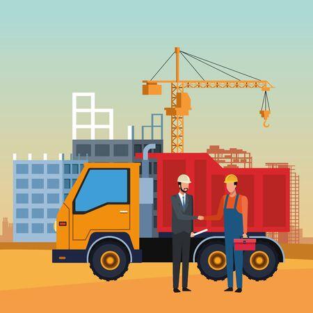 Camión volquete e ingeniero y constructor sobre paisaje en construcción, diseño colorido, ilustración vectorial