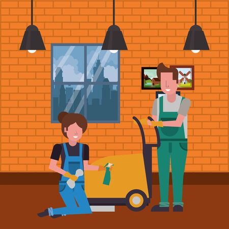 housekepping workers couple with equipment characters vector illustration design