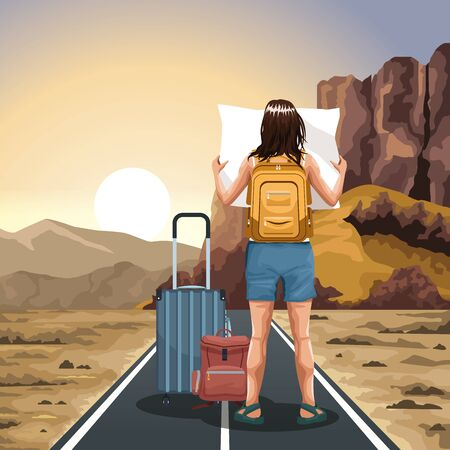 traveler woman with suitcases and map with western sunset landscape, colorful design, vector illustration