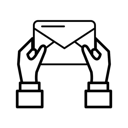 hands human with envelope mail postal service vector illustration design