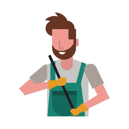 housekepping male worker with rubber gloves vector illustration design