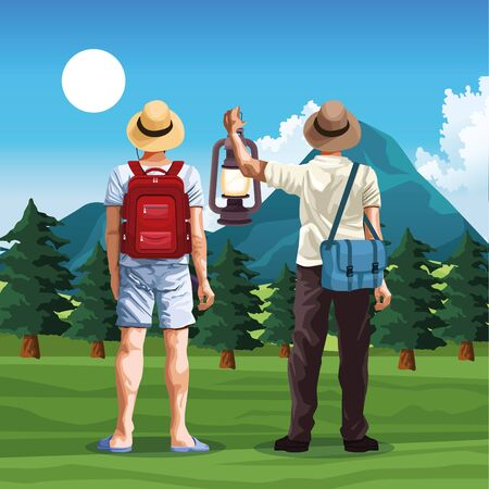 travelers men in nature landscape with mountains and trees, colorful design, vector illustration