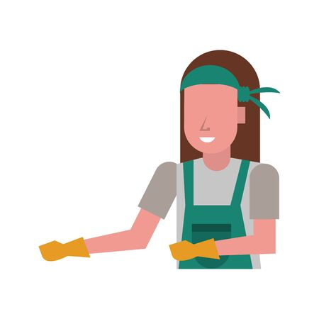 housekepping woman worker with gloves character vector illustration design Vettoriali