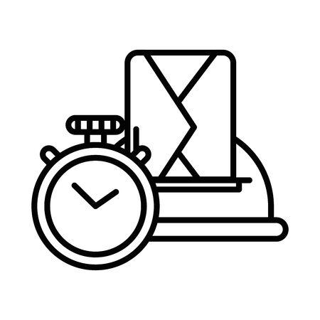 street mailbox with chronometer postal service vector illustration design