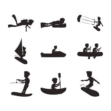 bundle of people practicing extreme sports vector illustration design