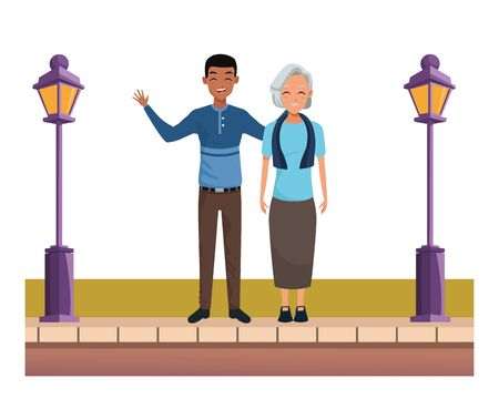 Family grandmother with adult afro son smiling cartoon on the street urban scenery ,vector illustration graphic design.