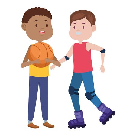 young men friends playing basketball and skates vector illustration design Stock Illustratie