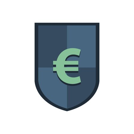 shield with euro symbol icon vector illustration design