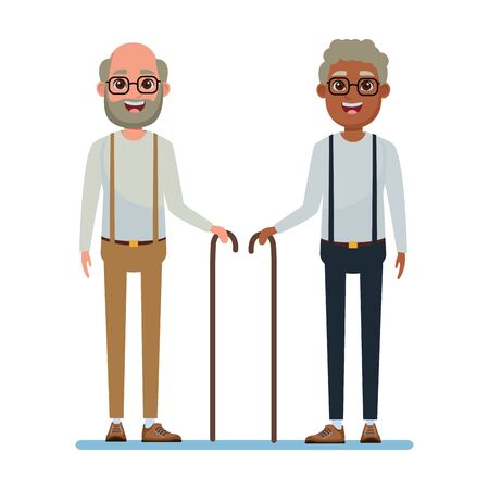elderly people avatar afroamerican old man with glasses and cane and old man with beard, glasses and cane profile picture cartoon character portrait vector illustration graphic design Vecteurs
