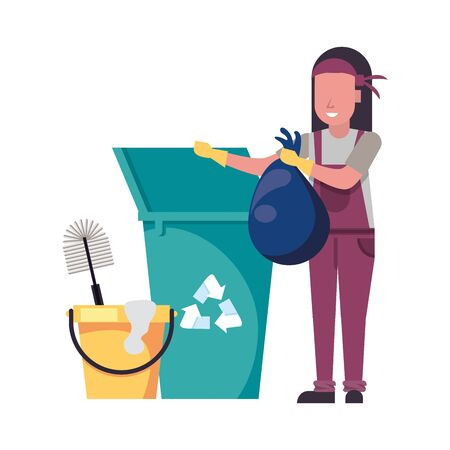 housekepping woman worker with garbage pot vector illustration design