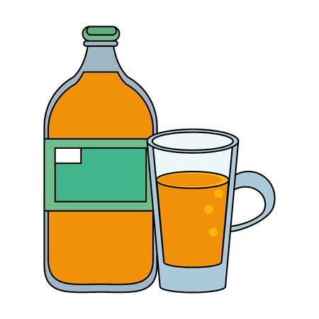 healthy drink juice orange nature bottle cartoon vector illustration graphic design