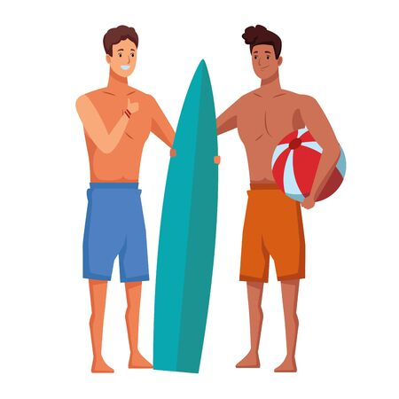 Young men friends enjoying summer with swimsuitwith surf table