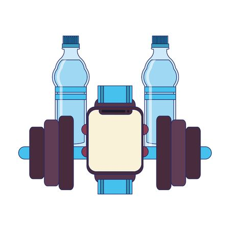 fitness equipment workout health and weights watch with two water flask isolated symbols vector illustration graphic design