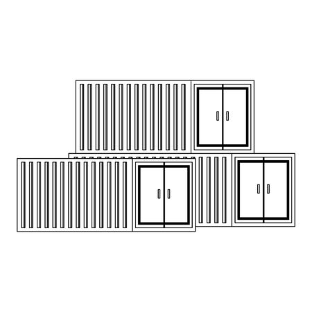 Cargo freighter containers isolated scenery vector illustration