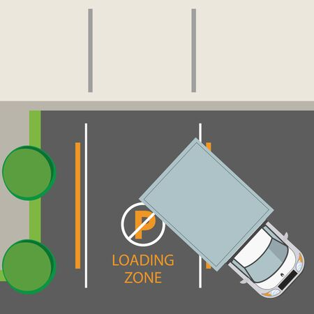 trucks vehicles parked in lot with road signs, parking zone topview. vector illustration graphic design