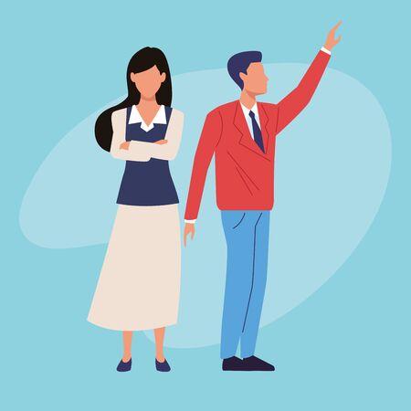 Uitvoerend zakenman en zakenvrouw gekruiste armen op blauwe achtergrond vector illustratie grafisch ontwerp.