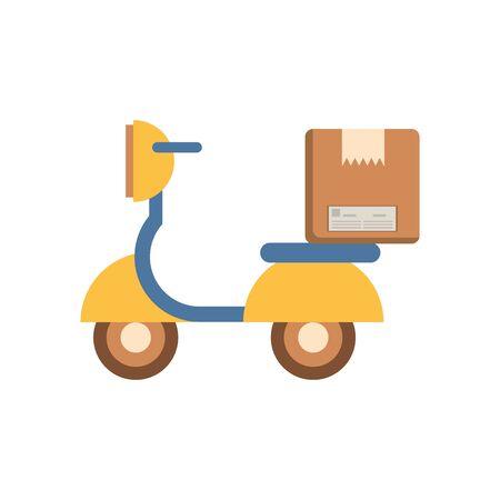 motorcycle vehicle with box packing postal service vector illustration design Vektoros illusztráció