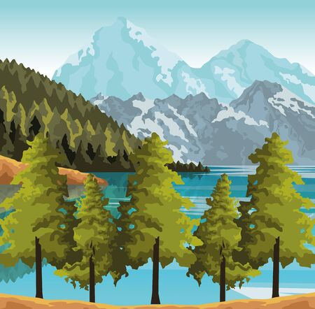 Beautiful landscape with trees, mountains and lake, colorful design, vector illustration