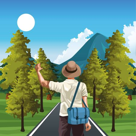 beautiful way with nature trees and mountains and traveler man with hat and bag, colorful design, vector illustration