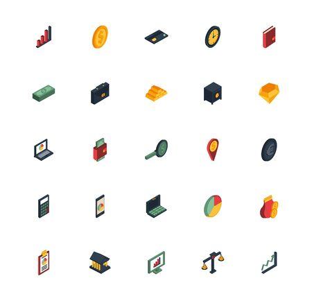 bundle of business set icons vector illustration design Векторная Иллюстрация