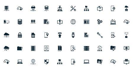 bundle of data center set icons vector illustration design