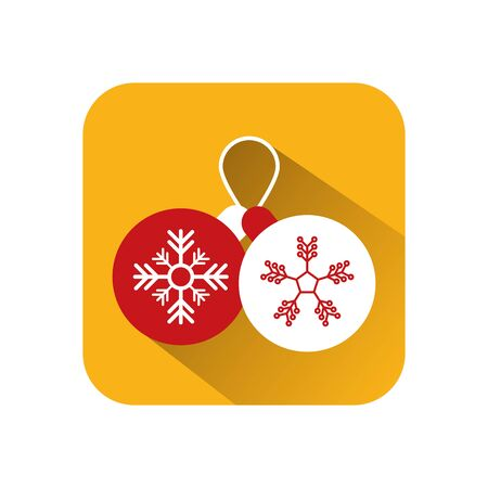 merry christmas balls hanging decoration vector illustration design