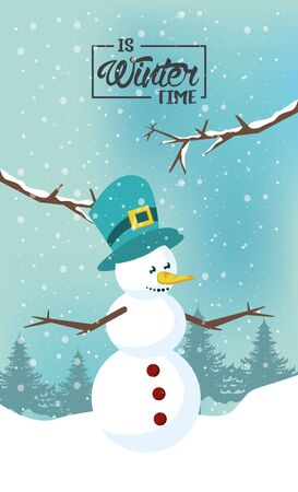 winter poster with snowman and forest scene vector illustration design