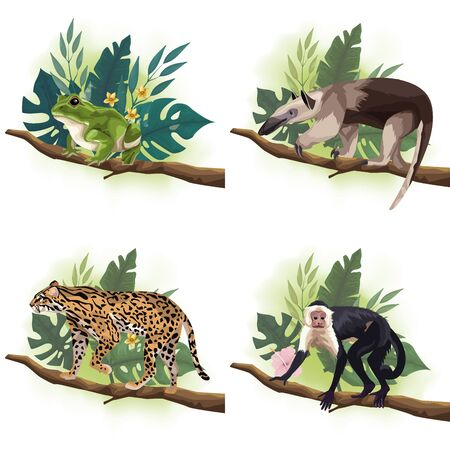 group of wild animals in tree branches scenes vector illustration design