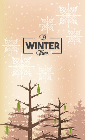 winter poster with snowflakes and forest scene vector illustration design