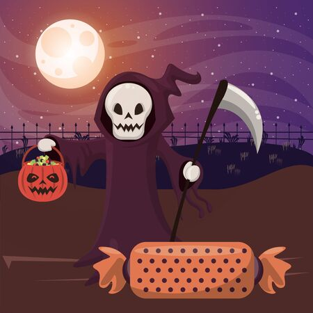 halloween dark scene with person disguised death vector illustration design