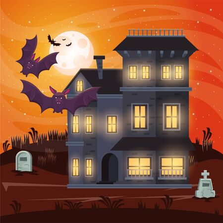 halloween dark scene with mansion and bats flying vector illustration design Illusztráció