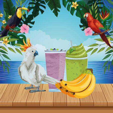 summer beach and vacation with cockatoo, tropical fruit and smoothie drink icon cartoon over the wooden floor with seascape vector illustration graphic design Vectores