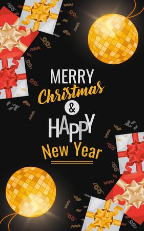 happy new year card with gifts and mirror balls vector illustration design
